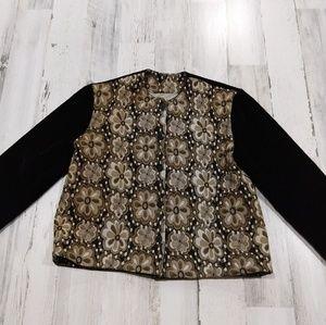 Vintage 70s Fall Floral Velvet Blazer Jacket
